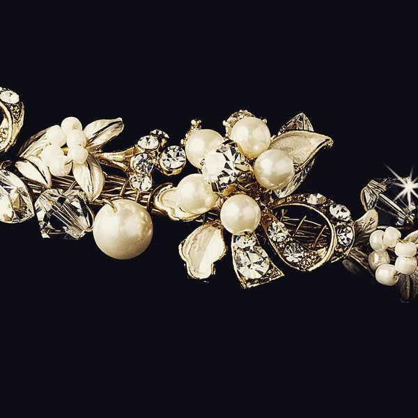 """The Anya"" Gold & Pearl Floral Garden Headband"