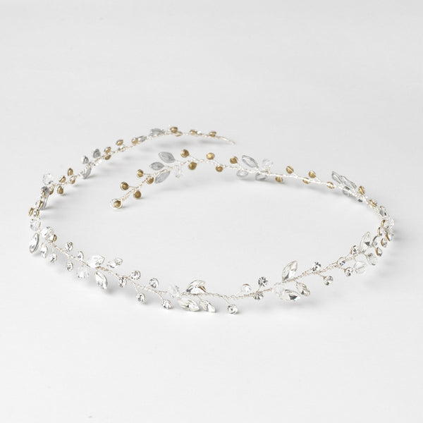 """The April"" Crystal & Rhinestone Vine Headband-Bunwraps & Circlets-Wedding Factory-HP-10008-S-CL-Sweet Heart Details"