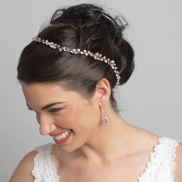 """The April"" Crystal & Rhinestone Vine Headband-Bunwraps & Circlets-Wedding Factory-Sweet Heart Details"