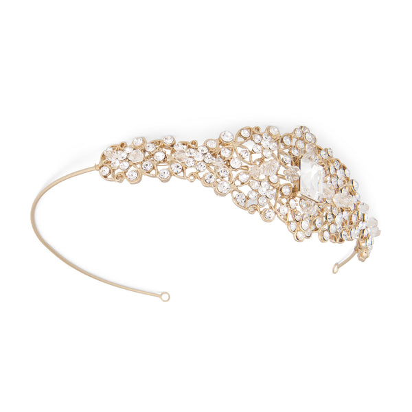 """The Aretha"" Crystal & Rhinestone Side Headband"