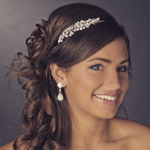 """The Arielle"" Vintage Crystal Accent Side Headband"