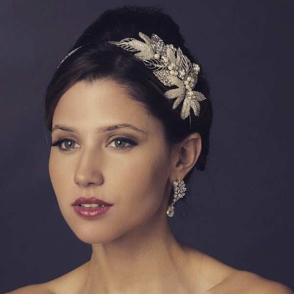 """The Aubrey"" Antique Silver Crystal Leaf Headband-Tiaras & Headbands-Wedding Factory-HP-947-AS-IV-Sweet Heart Details"
