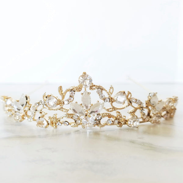 """The Audrey"" Delicate Light Gold and Crystal Tiara - Sweet Heart Details"