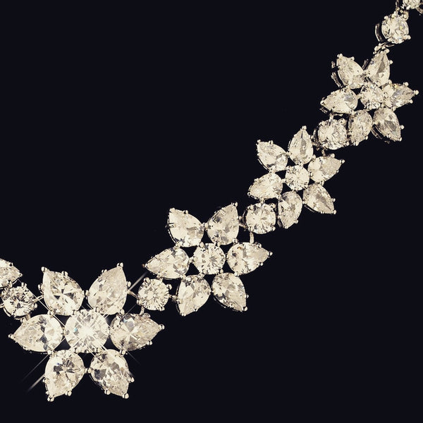 """The Audrey Hepburn"" Sparkling CZ Snowflake Set-Jewelry Sets-Wedding Factory-NE-1574-RD-CL-Sweet Heart Details"