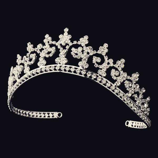 """The Aurora"" Regal Rhinestone Tiara in Silver-Tiaras & Headbands-Wedding Factory-HP-167-S-CL-Sweet Heart Details"