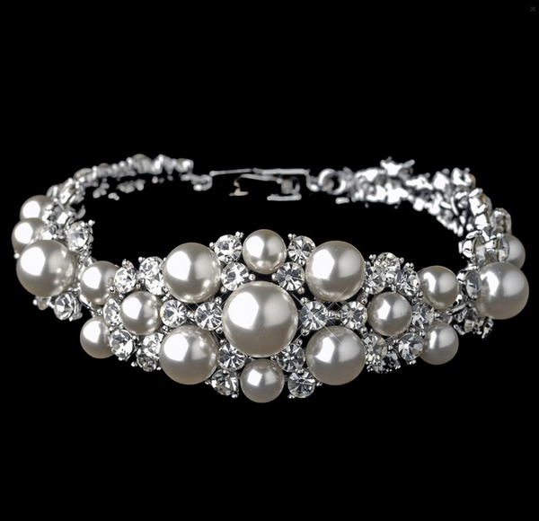 """The  Noa"" Gorgeous Diamond White & Pearl Bracelet"
