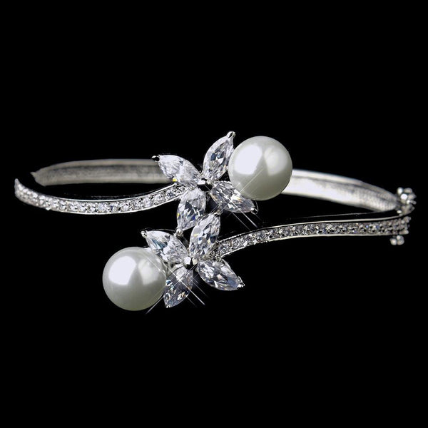 """The Julianna"" White Pearl & Marquise Cubic Zirconia Bracelet"