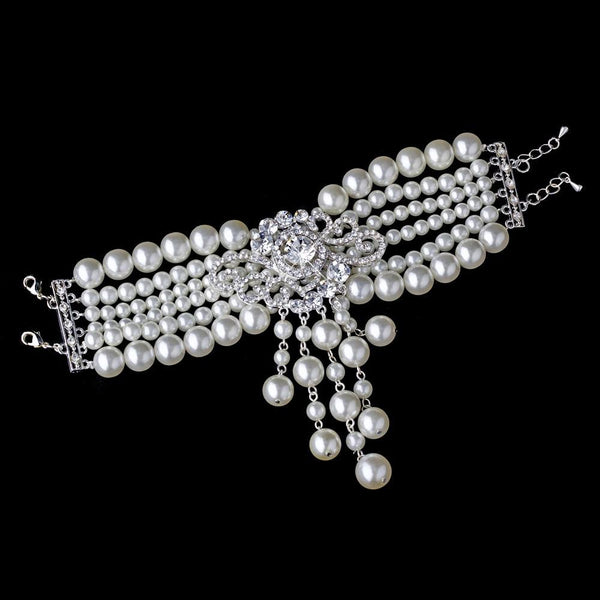 """The Olyvia"" Pearl & Crystal Rose Bracelet"