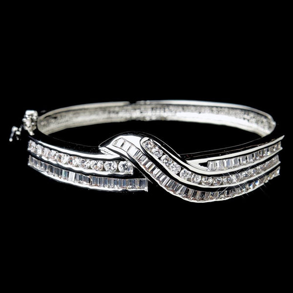 """The Keyla"" Clear CZ Twist Design Cuff Bangle"
