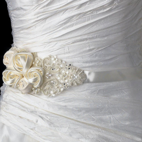 """The Rue"" Rose, Bead & Sequin Belt-Sashes & Belts-Wedding Factory-Sweet Heart Details"