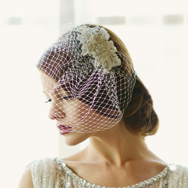 Couture Birdcage Veil with Swarovski Crystals-HP29 4058-Sweet Heart Details