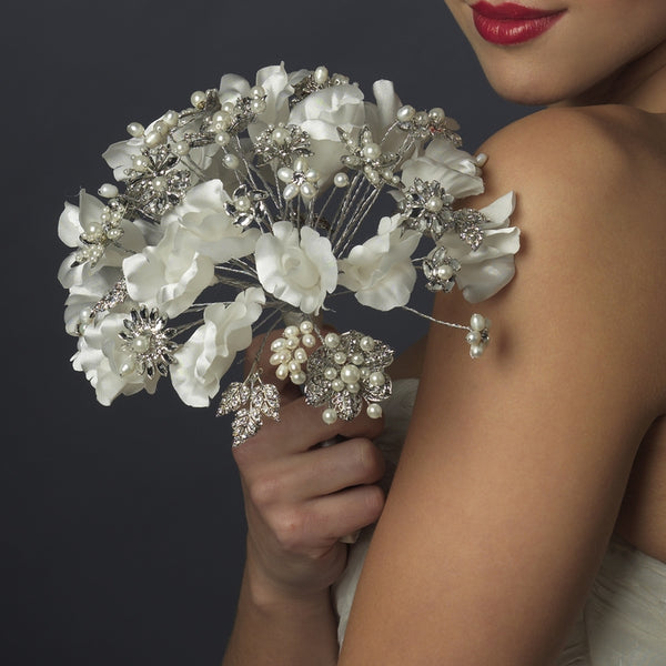 Delicate Pearl Silver Floral Wedding Bouquet - Sweet Heart Details