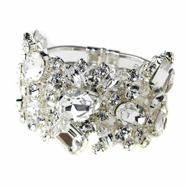 """The Bea"" Clear Czech Stone Bangle Cuff-Bracelets-Wedding Factory-B-9676-S-CL-Sweet Heart Details"