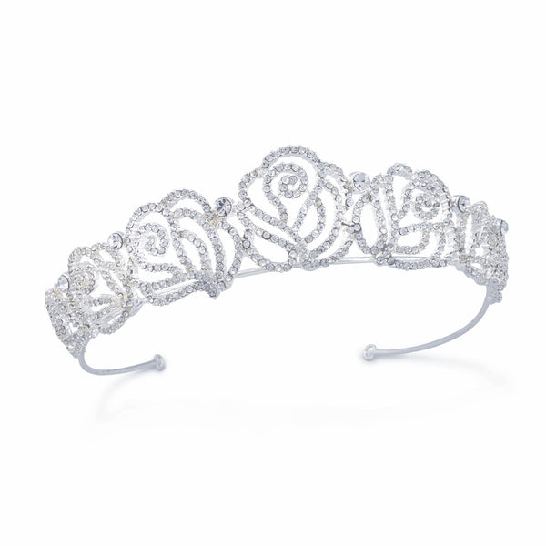 Silver Tiara with Roses and Rhinestones Wedding Bridal