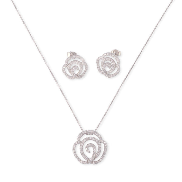 """The Belle"" Solid 925 Sterling Silver Paved CZ Rose Set"