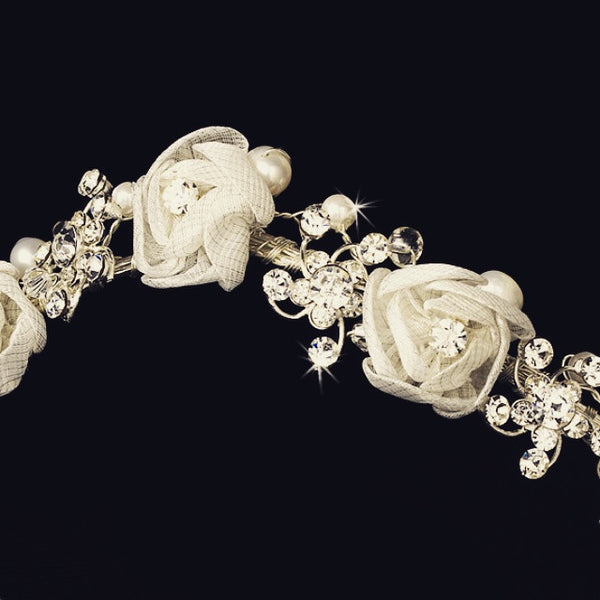 """The Rosette"" Silver White Floral Headband-Tiaras & Headbands-Wedding Factory-HP-2322-S-WH-Sweet Heart Details"