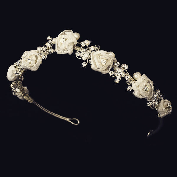"""The Rosette"" Silver White Floral Headband - Sweet Heart Details"