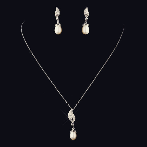 """The Brianna"" Solid 925 Sterling Silver CZ & Pearl Drop Set"