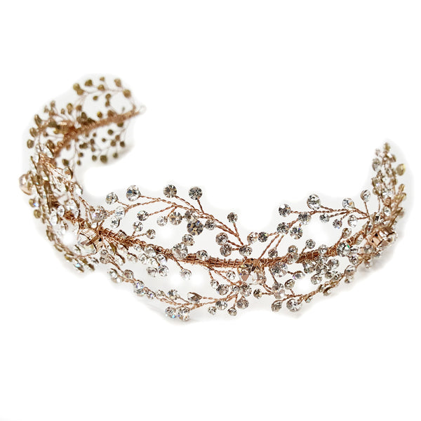 """The Bridget"" Handmade Rose Gold Vine Headband-Tiaras & Headbands-Wedding Factory-hp-6352-rg-cl-Sweet Heart Details"