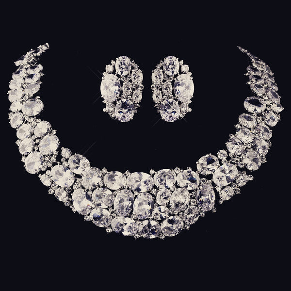 """The Brighton"" Sparkling CZ 'Diamond' Collar & Earrings Set - Sweet Heart Details"