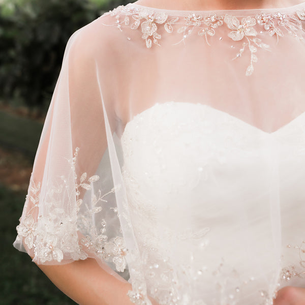 Tulle Bridal Capelet with Beaded Embroidery - Sweet Heart Details