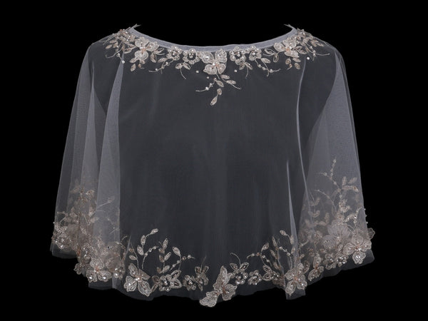 Tulle Bridal Capelet with Beaded Embroidery-Wraps, Capes, Capelets, Stoles-EnVogue*2-CP1824-Sweet Heart Details