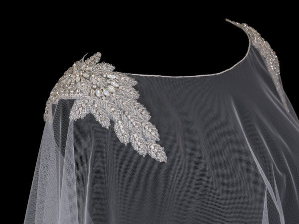 Tulle Bridal Capelet with Beaded Shoulder Design-Wraps, Capes, Capelets, Stoles-EnVogue*2-CP1921-Sweet Heart Details