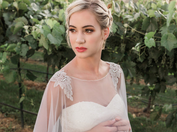 Tulle Bridal Capelet with Beaded Shoulder Design - Sweet Heart Details
