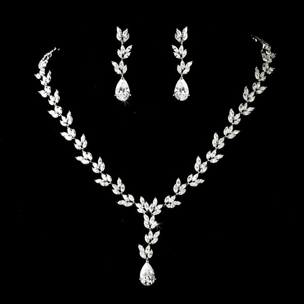 """The Cleo"" Leaf Marquise Necklace & Earring Set-N-8170, E-8170-RD-CL-Sweet Heart Details"