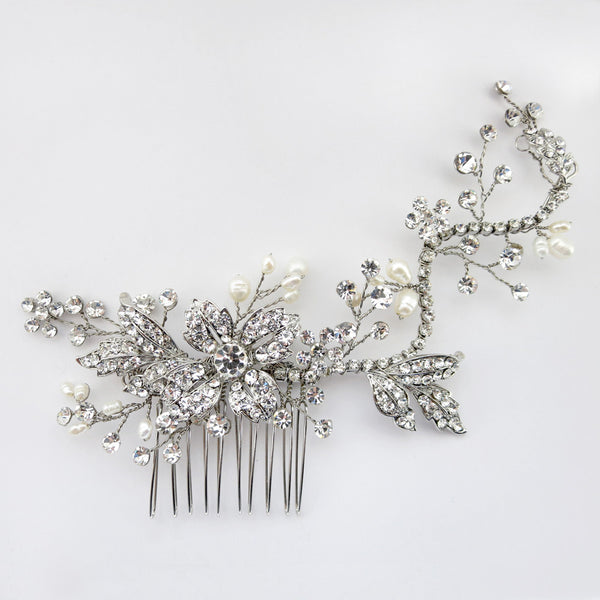 """The Cait"" Floral Crystal & Freshwater Pearl Comb"