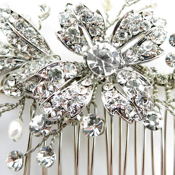 """The Cait"" Floral Crystal & Freshwater Pearl Comb-Combs & Clips-Wedding Factory-Comb-46-AS-FW-Sweet Heart Details"