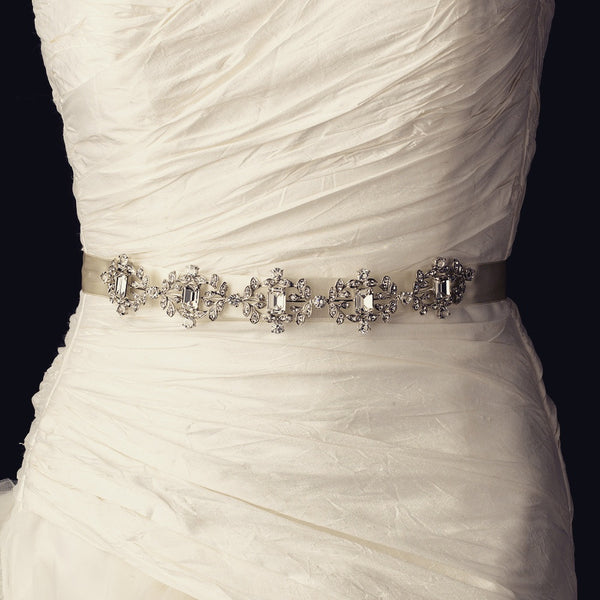 """The Capri"" Vintage Rhinestone & Crystal Belt - Sweet Heart Details"