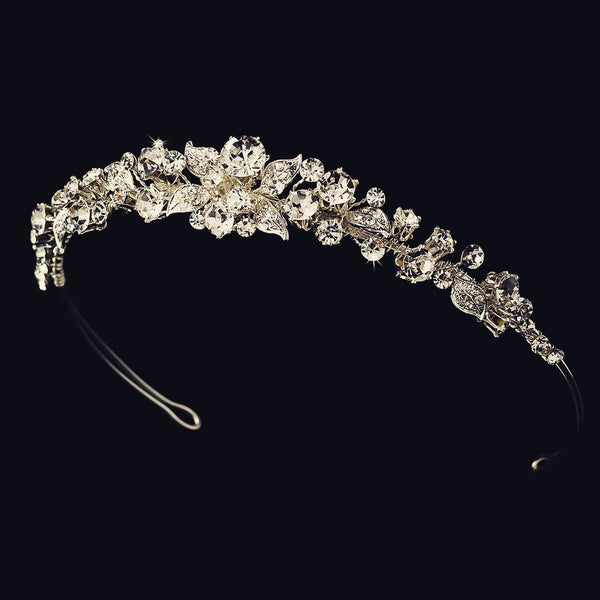 """The Carey"" Delicate Garden Vine Crystal Tiara - Sweet Heart Details"