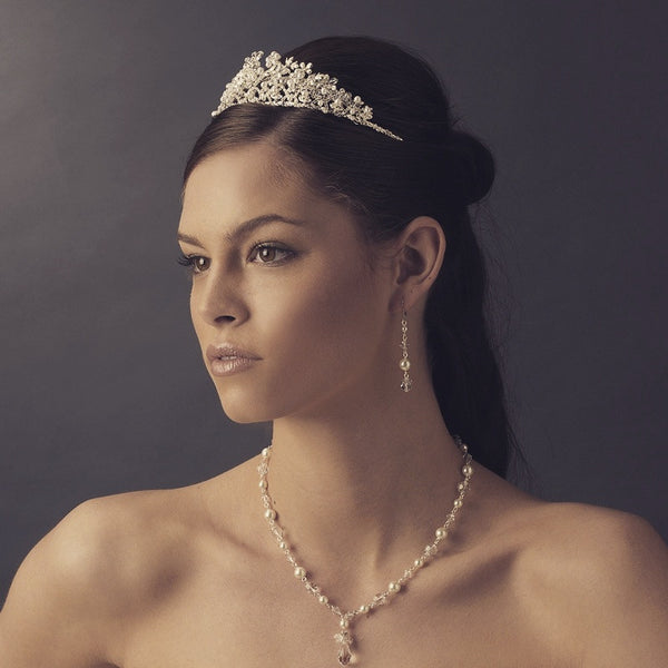 """The Kristin"" Swarovski Crystal and Pearl Floral Tiara-Tiaras & Headbands-Wedding Factory-HP-4326-S-IV-Sweet Heart Details"