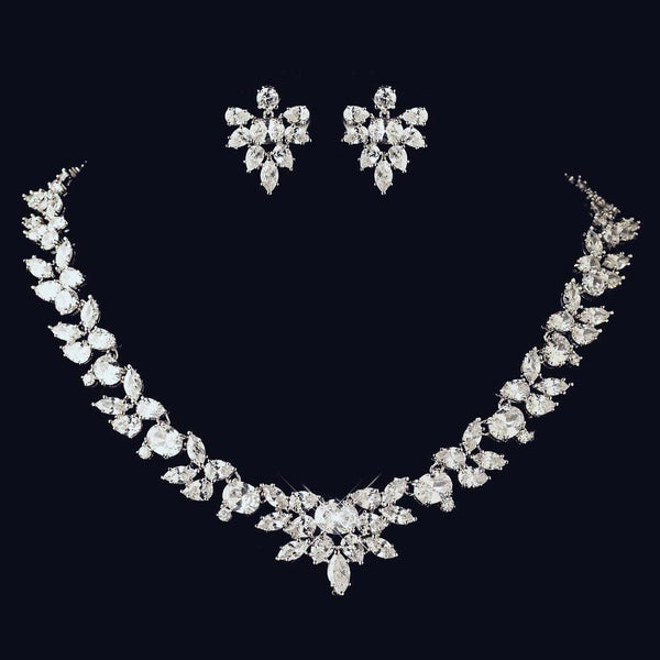 """The Cassandra"" Marquise & Oval Cut Leaf Design Necklace & Earrings-Jewelry Sets-Wedding Factory-NE-13049-RD-CL-Sweet Heart Details"