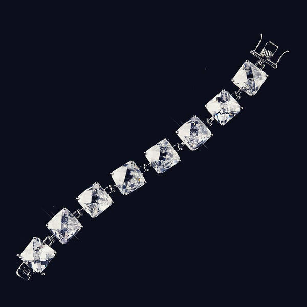 """The Cassidy"" Clear Large CZ Princess Tennis Bracelet - Sweet Heart Details"