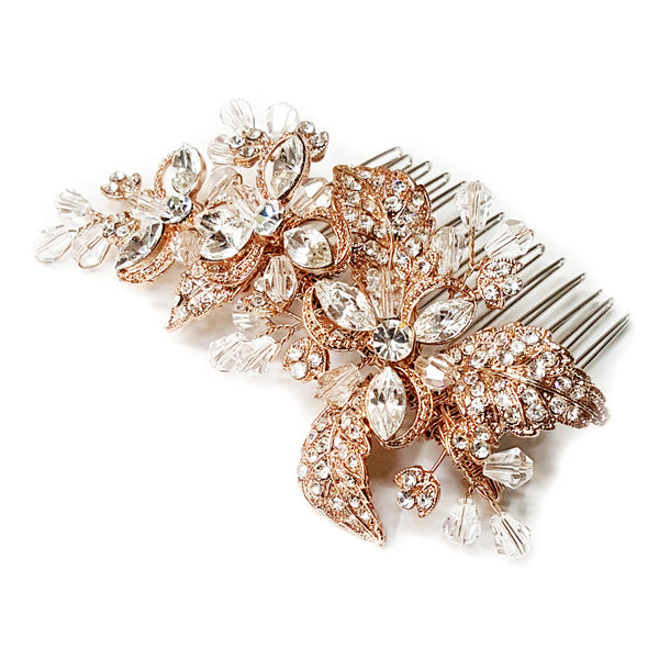 """The Chelsea"" Handmade Rose Gold Crystal Comb - Sweet Heart Details"