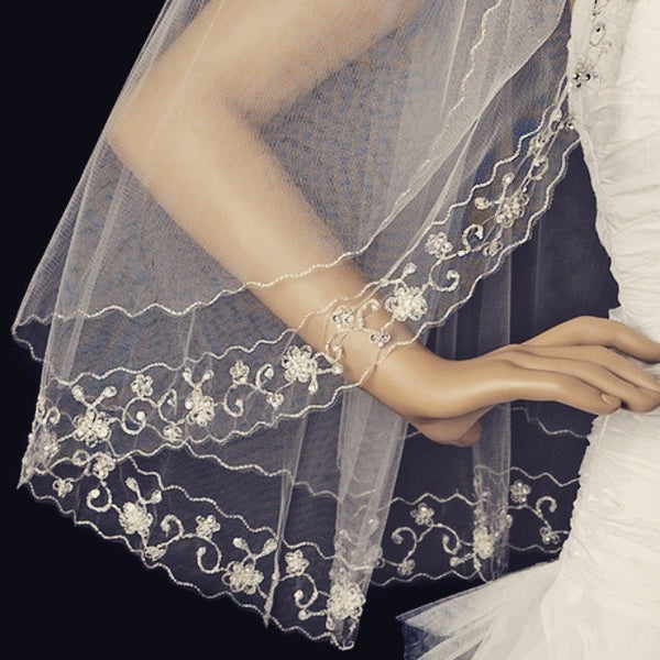 """The Cissy"" Silver Floral Embroidered Veil"
