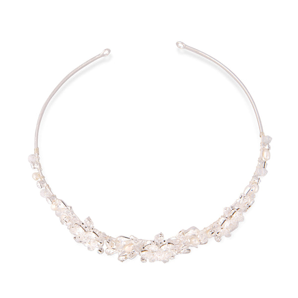 """The Claire"" Crystal & Freshwater Pearl Headpiece"