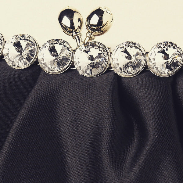 """The Clementine"" Satin Evening Bag (Black or White) - Sweet Heart Details"