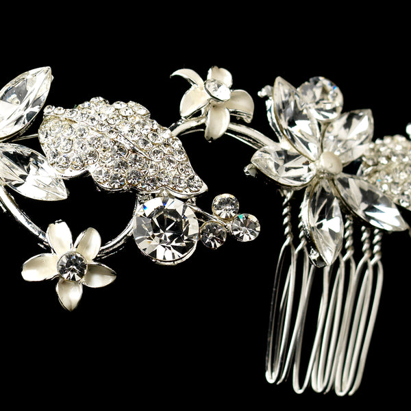 Rhinestone & Pearl Floral Vine Comb-Combs & Clips-Comb-9631-S-Clear-Sweet Heart Details