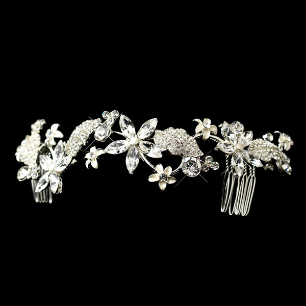 Rhinestone & Pearl Floral Vine Comb - Sweet Heart Details