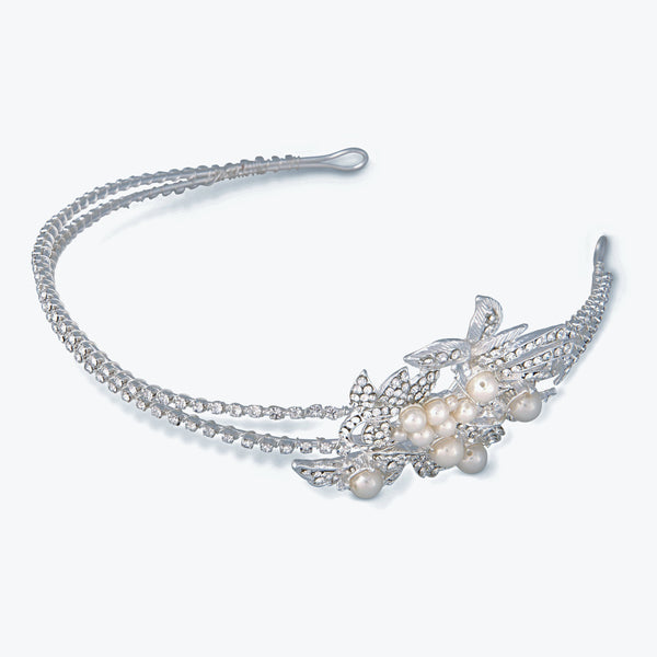 """The Cosette"" Rhinestone Pave & Pearl Headband-Tiaras & Headbands-Wedding Factory-HP-754-S-DW-Sweet Heart Details"