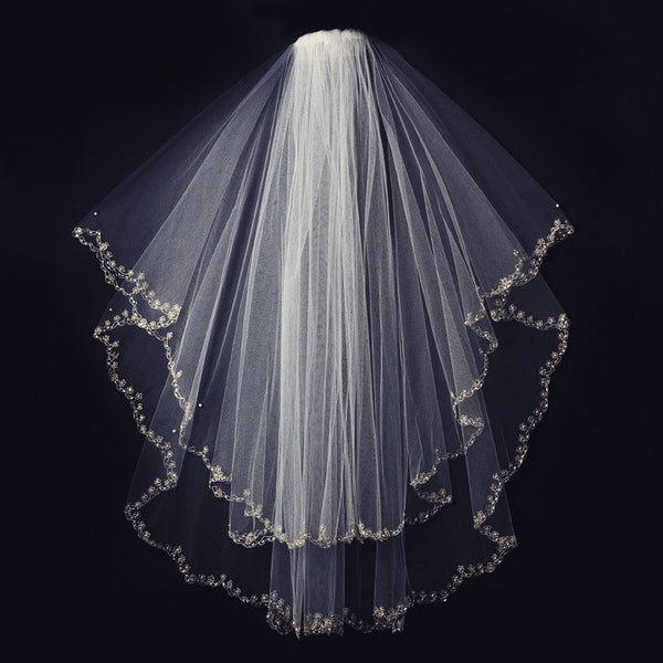"""The Cynthia"" Double Tier Scallop Edged Embroidered Veil-Veils-Wedding Factory-Sweet Heart Details"
