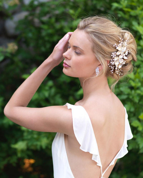 """The Chloe"" Bridal Side Comb by Dareth Colburn-Combs & Clips-Dareth Colburn-Sweet Heart Details"