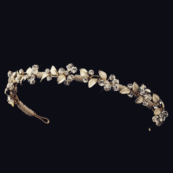 """The Deanne"" Floral Swarovski H'band (Gold/Silver)"