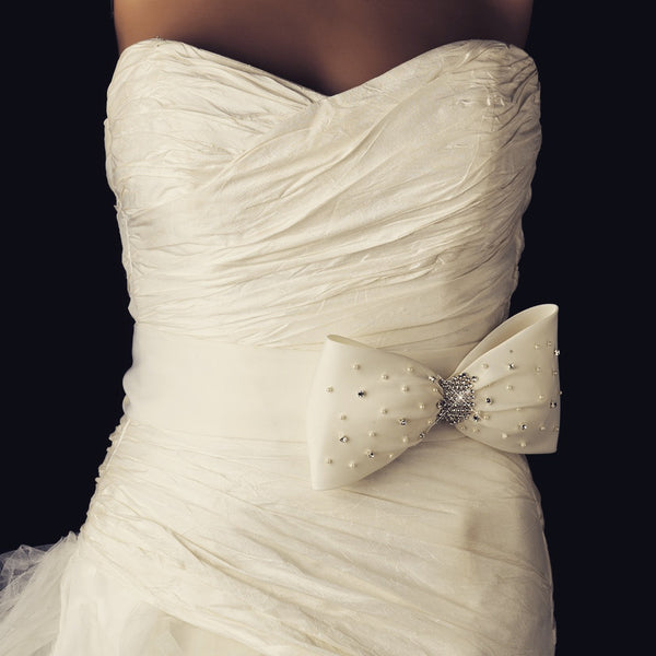 """The Desiree"" Bridal Pearl & Crystal Bow Sash Belt - Sweet Heart Details"