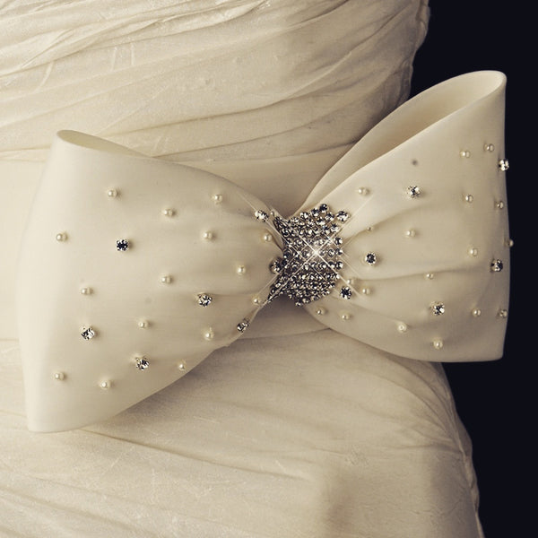"""The Desiree"" Bridal Pearl & Crystal Bow Sash Belt-Sashes & Belts-Wedding Factory-Sweet Heart Details"