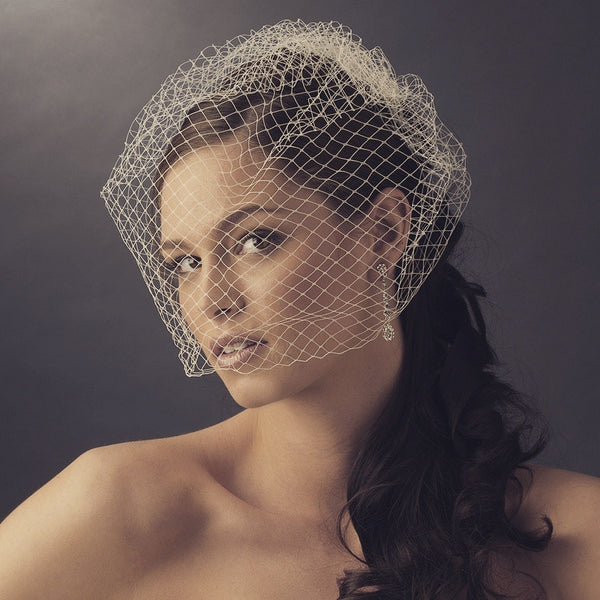 """The Diane"" Single Layer Russian Birdcage Veil - Sweet Heart Details"