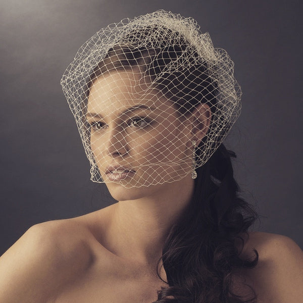 """The Diane"" Single Layer Russian Birdcage Veil (White, Ivory or Black)"
